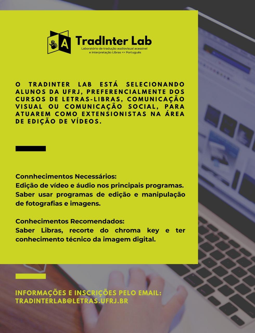 Card sobre a chamada para estudantes extenionistas do TradInterlab